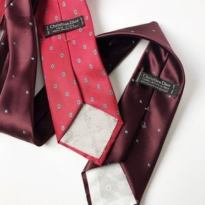 Christian Dior | (2) Men's Purple & Red Tie